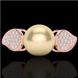 0.27 CTW Micro Pave VS/SI Diamond & Golden Pearl Designer Ring 14K Rose Gold - REF-39H3A - 22640