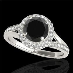 1.85 CTW Certified VS Black Diamond Solitaire Halo Ring 10K White Gold - REF-81W6F - 34126