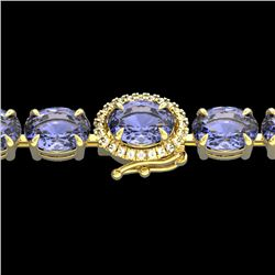 32 CTW Tanzanite & VS/SI Diamond Tennis Micro Halo Bracelet 14K Yellow Gold - REF-328A9X - 23442