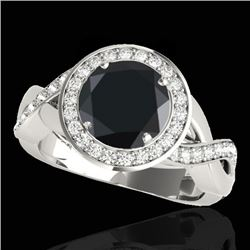 2 CTW Certified VS Black Diamond Solitaire Halo Ring 10K White Gold - REF-94M8H - 33279