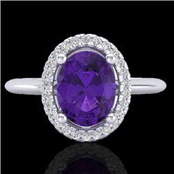 1.75 CTW Amethyst & Micro VS/SI Diamond Ring Solitaire Halo 18K White Gold - REF-43W6F - 20998