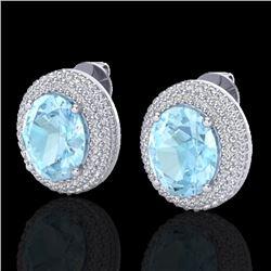 8 CTW Aquamarine & Micro Pave VS/SI Diamond Earrings 18K White Gold - REF-204X9T - 20215