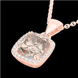 3 CTW Morganite & Micro VS/SI Diamond Pave Halo Necklace 14K Rose Gold - REF-68N2Y - 22827