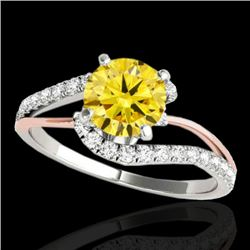 1.35 CTW Certified Si Fancy Diamond Bypass Solitaire Ring 10K White & Rose Gold - REF-167M3H - 35108