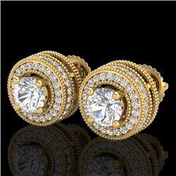 2.09 CTW VS/SI Diamond Solitaire Art Deco Stud Earrings 18K Yellow Gold - REF-254W5F - 37141
