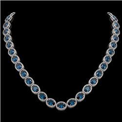 55.41 CTW London Topaz & Diamond Halo Necklace 10K White Gold - REF-576A2X - 40589