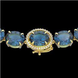 177 CTW London Blue Topaz & VS/SI Diamond Halo Micro Necklace 14K Yellow Gold - REF-563X5T - 22304