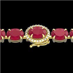 37 CTW Ruby & VS/SI Diamond Eternity Tennis Micro Halo Bracelet 14K Yellow Gold - REF-272Y8K - 23439