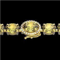 19.25 CTW Citrine & VS/SI Diamond Tennis Micro Pave Halo Bracelet 14K Yellow Gold - REF-109T3M - 402