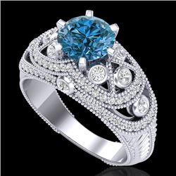 2 CTW Intense Blue Diamond Solitaire Engagement Art Deco Ring 18K White Gold - REF-309H3A - 37978