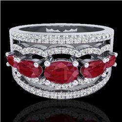 2.25 CTW Ruby & Micro Pave VS/SI Diamond Designer Ring 10K White Gold - REF-71K3W - 20802