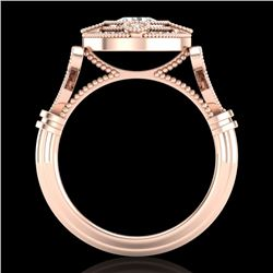 1.12 CTW VS/SI Diamond Solitaire Art Deco Ring 18K Rose Gold - REF-250K2W - 36978