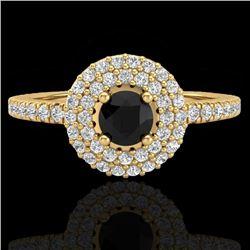 0.80 CTW Micro VS/SI Diamond Designer Ring 18K Yellow Gold - REF-59T5M - 20894