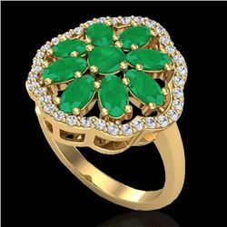 4 CTW Emerald & VS/SI Diamond Cluster Designer Halo Ring 10K Yellow Gold - REF-60W9F - 20780
