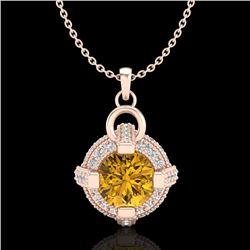 1.57 CTW Intense Fancy Yellow Diamond Micro Pave Stud Necklace 18K Rose Gold - REF-147X3T - 37638