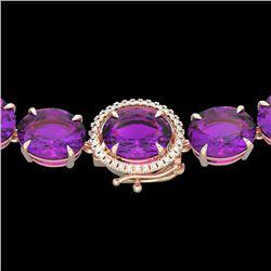 175 CTW Amethyst & VS/SI Diamond Halo Micro Eternity Necklace 14K Rose Gold - REF-531M6H - 22285