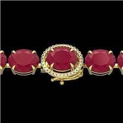 75 CTW Ruby & Micro Pave VS/SI Diamond Halo Designer Bracelet 14K Yellow Gold - REF-457X8T - 22276