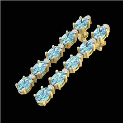 6 CTW Sky Blue Topaz & VS/SI Diamond Tennis Earrings 10K Yellow Gold - REF-38A2X - 21516