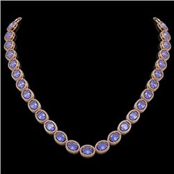 48.65 CTW Tanzanite & Diamond Halo Necklace 10K Rose Gold - REF-797F3N - 40563