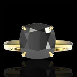 6 CTW Black VS/SI Diamond Designer Inspired Engagement Ring 18K Yellow Gold - REF-155F6N - 22176