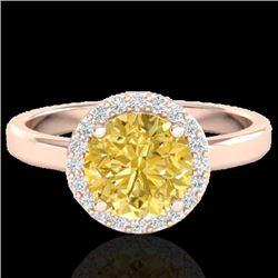 2 CTW Citrine & Halo VS/SI Diamond Micro Pave Ring Solitaire 14K Rose Gold - REF-40M2H - 21625