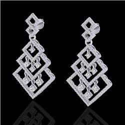 3 CTW Micro Pave VS/SI Diamond Earrings Dangling Designer 14K White Gold - REF-267Y6K - 22488