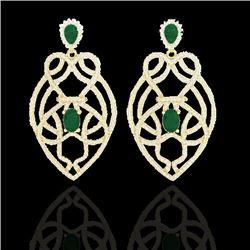 7 CTW Emerald & Micro VS/SI Diamond Heart Earrings Designer 14K Yellow Gold - REF-381H8A - 21137