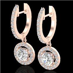 1.75 CTW Micro Pave Halo VS/SI Diamond Earrings 14K Rose Gold - REF-208N8Y - 23254
