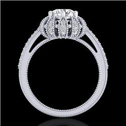 1.65 CTW VS/SI Diamond Solitaire Art Deco Micro Pave Ring 18K White Gold - REF-427M3H - 36992
