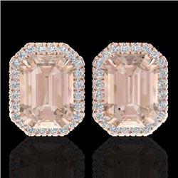8.40 CTW Morganite & Micro Pave VS/SI Diamond Halo Earrings 14K Rose Gold - REF-202K8W - 21229