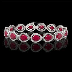 30.06 CTW Ruby & Diamond Halo Bracelet 10K White Gold - REF-368H5A - 41237