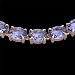 56 CTW Tanzanite Eternity Designer Inspired Tennis Necklace 14K Rose Gold - REF-631W3F - 23410