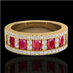 2.34 CTW Ruby & Micro Pave VS/SI Diamond Designer Inspired Ring 10K Yellow Gold - REF-67M3H - 20827