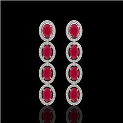 6.47 CTW Ruby & Diamond Halo Earrings 10K White Gold - REF-114N2Y - 40505