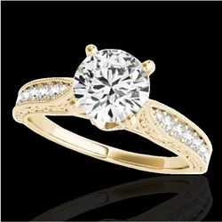 1.21 CTW H-SI/I Certified Diamond Solitaire Antique Ring 10K Yellow Gold - REF-161F8N - 34722