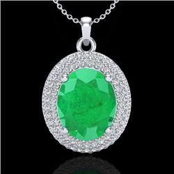 4.50 CTW Emerald & Micro Pave VS/SI Diamond Necklace 18K White Gold - REF-120W9F - 20562