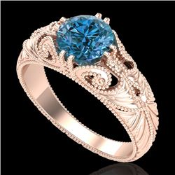 1 CTW Intense Blue Diamond Solitaire Engagement Art Deco Ring 18K Rose Gold - REF-190F9N - 37531