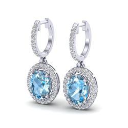 4.25 CTW Sky Blue Topaz & Micro VS/SI Diamond Earrings Halo 18K White Gold - REF-94T8M - 20316