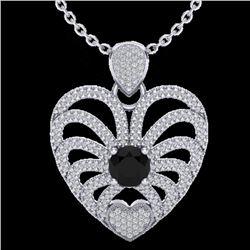 3.50 CTW Black & White Micro VS/SI Diamond Heart Necklace 14K White Gold - REF-173H6A - 20499