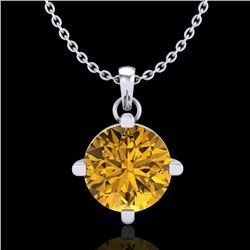 1 CTW Intense Fancy Yellow Diamond Solitaire Art Deco Necklace 18K White Gold - REF-154M5H - 38078