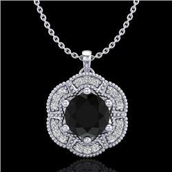 1.01 CTW Fancy Black Diamond Solitaire Art Deco Stud Necklace 18K White Gold - REF-74W2F - 37968