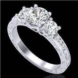 1.41 CTW VS/SI Diamond Solitaire Art Deco 3 Stone Ring 18K White Gold - REF-263K6W - 37007