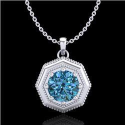 0.75 CTW Fancy Intense Blue Diamond Solitaire Art Deco Necklace 18K White Gold - REF-100M2H - 37943