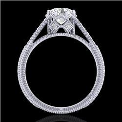 1.25 CTW VS/SI Diamond Art Deco Ring 18K White Gold - REF-330F2N - 36905