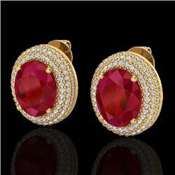 9.20 CTW Ruby & Micro Pave VS/SI Diamond Earrings 18K Yellow Gold - REF-190T2M - 20233