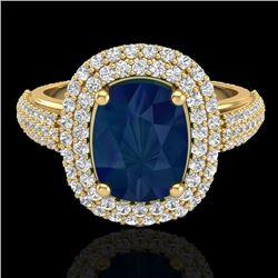 3.50 CTW Sapphire & Micro Pave VS/SI Diamond Halo Ring 18K Yellow Gold - REF-143F6N - 20724
