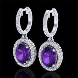 3.50 CTW Amethyst & Micro Pave VS/SI Diamond Earrings Halo 18K White Gold - REF-99A8X - 20308