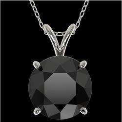 2.50 CTW Fancy Black VS Diamond Solitaire Necklace 10K White Gold - REF-55A5X - 33243