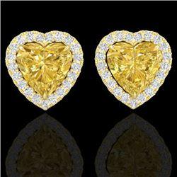 2 CTW Citrine & Micro Pave VS/SI Diamond Earrings Heart Halo 14K Yellow Gold - REF-42F4N - 21203
