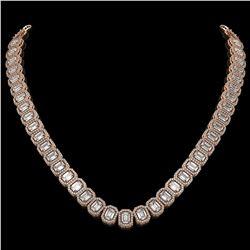 40.3 CTW Emerald Cut Diamond Designer Necklace 18K Rose Gold - REF-8402A2X - 42786